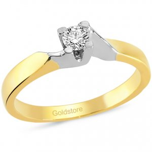0.12ct. Diamond 18K Solid Gold Solitaire S Type Ring