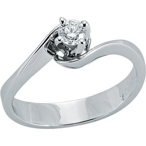 0.25ct. Diamond 18K Solid Gold Solitaire S Type Ring