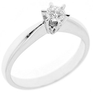 0.22ct. Diamond 18K Solid Gold Solitaire Classic Ring