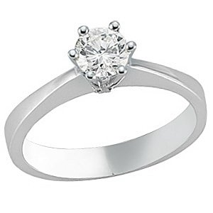 0.34ct. Diamond 18K Solid Gold Solitaire Classic Ring