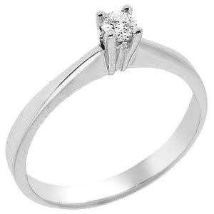 0.09ct. Diamond 14K Solid Gold Solitaire Classic Ring
