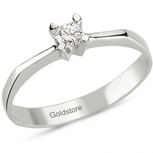 0.11ct. Diamond 18K Solid Gold Solitaire Classic Ring