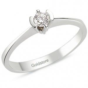 0.14ct. Diamond 18K Solid Gold Solitaire Ring