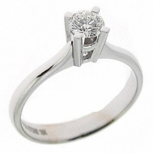 0.35ct. Diamond 18K Solid Gold Solitaire Classic Ring