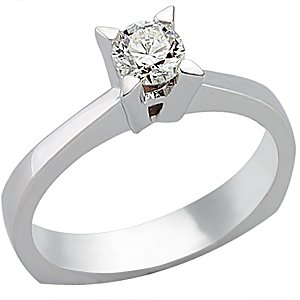0.36ct. Diamond 18K Solid Gold Solitaire Classic Ring