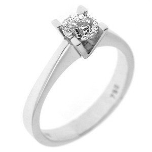 0.28ct. Diamond 18K Solid Gold Solitaire Classic Ring