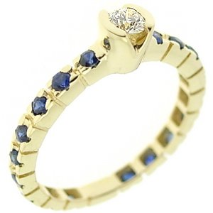 0.13ct. Diamond 0.37ct. Sapphire 18K Solid Gold Solitaire Sidestones Ring