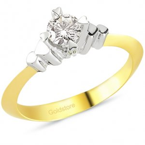 0.36ct. Diamond 18K Solid Gold Solitaire Heart Ring