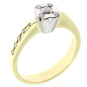 0.25ct. Diamond 18K Solid Gold Solitaire Sidestones Ring