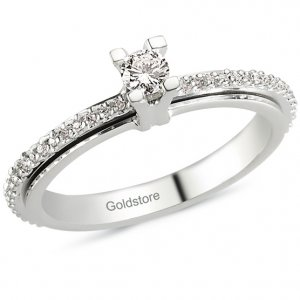 0.28ct. Diamond 18K Solid Gold Solitaire Sidestones Ring