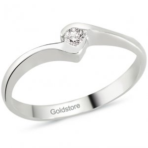 0.06ct. Diamond 18K Solid Gold Solitaire Ring