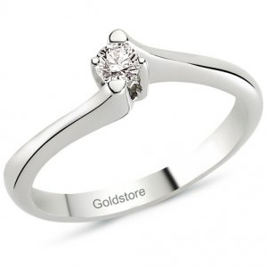 0.11ct. Diamond 14K Solid Gold Solitaire S Type Ring