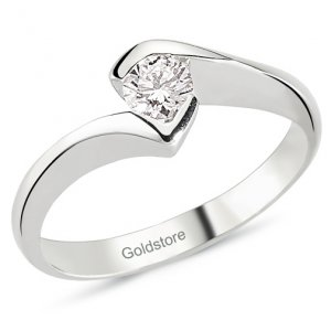 0.22ct. Diamond 18K Solid Gold Solitaire Ring