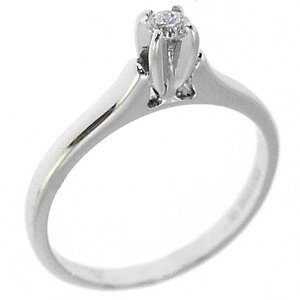 0.1ct. Diamond 18K Solid Gold Solitaire Classic Ring