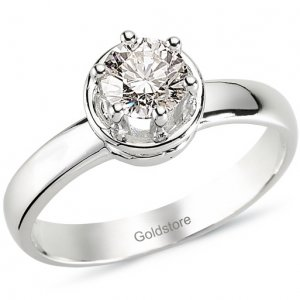 0.66ct. Diamond 18K Solid Gold Solitaire Ring