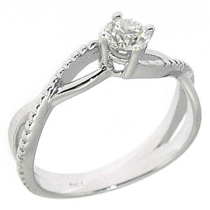 0.31ct. Diamond 18K Solid Gold Solitaire S Type Ring