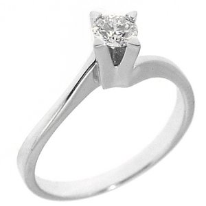 0.28ct. Diamond 18K Solid Gold Solitaire S Type Ring