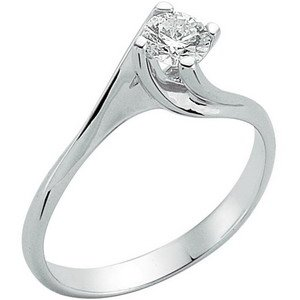 0.29ct. Diamond 18K Solid Gold Solitaire S Type Ring