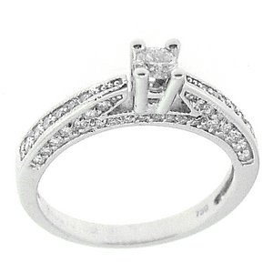 0.48ct. Diamond 18K Solid Gold Solitaire Sidestones Ring