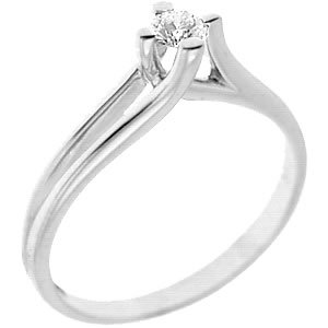 0.43ct. Diamond 18K Solid Gold Solitaire S Type Ring