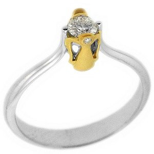 0.2ct. Diamond 18K Solid Gold Solitaire Angel Ring