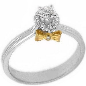 0.26ct. Diamond 18K Solid Gold Solitaire Ring