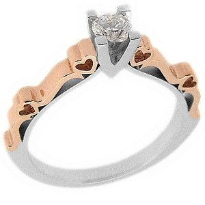 0.28ct. Diamond 18K Solid Gold Solitaire Heart Ring