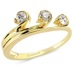 0.32ct. Diamond 14K Solid Gold 3 Stone Ring