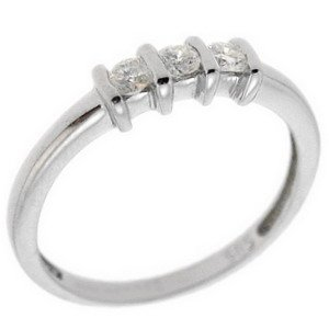 0.2ct. Diamond 14K Solid Gold 3 Stone Ring