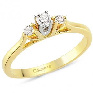 0.18ct. Diamond 18K Solid Gold 3 Stone Ring