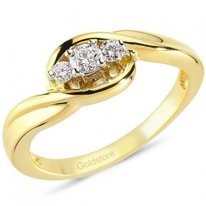 0.19ct. Diamond 14K Solid Gold 3 Stone Ring