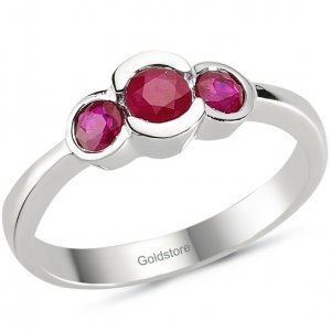 0.83ct. Ruby 18K Solid Gold 3 Stone Ring