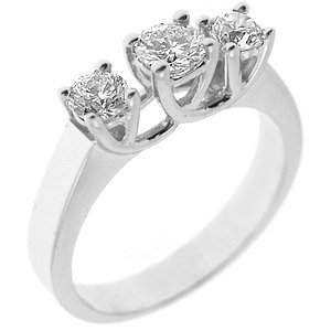 0.7ct. Diamond 18K Solid Gold 3 Stone Ring