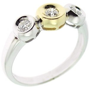 0.25ct. Diamond 18K Solid Gold 3 Stone Ring