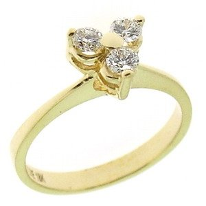 0.32ct. Diamond 18K Solid Gold 3 Stone Ring