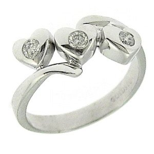 0.18ct. Diamond 18K Solid Gold 3 Stone Heart Ring