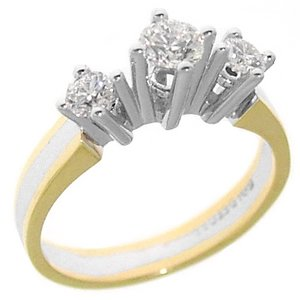0.58ct. Diamond 18K Solid Gold 3 Stone Ring