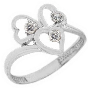 14K Solid Gold 3 Stone Heart Cubic Zirconia Ring