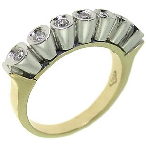0.17ct. Diamond 18K Solid Gold 7 Stones Ring