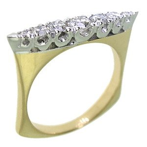 0.48ct. Diamond 18K Solid Gold 7 Stones Ring