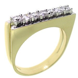 0.46ct. Diamond 18K Solid Gold 7 Stones Ring