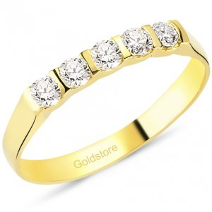 0.3ct. Diamond 18K Solid Gold 5 Stones Half Eternity Ring