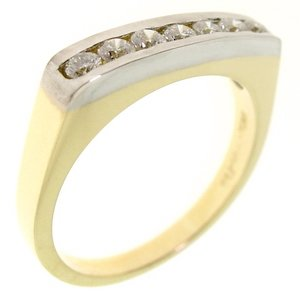 0.38ct. Diamond 18K Solid Gold 7 Stones Ring