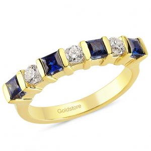 0.3ct. Diamond 0.72ct. Sapphire 18K Solid Gold 7 Stones Ring