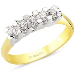 0.41ct. Diamond 18K Solid Gold 5 Stones Ring