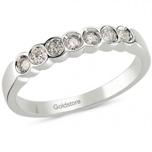 0.54ct. Diamond 18K Solid Gold Half Eternity Ring