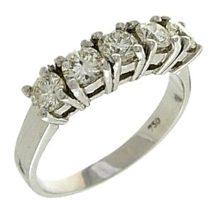 0.98ct. Diamond 18K Solid Gold 5 Stones Ring
