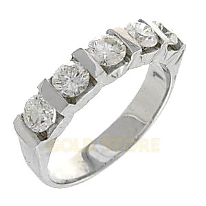 0.96ct. Diamond 18K Solid Gold 5 Stones Half Eternity Ring