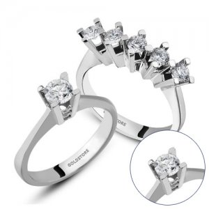 0.58ct. Diamond 14K Solid Gold Solitaire 5 Stones Ring