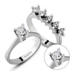0.75ct. Diamond 14K Solid Gold Solitaire 5 Stones Ring